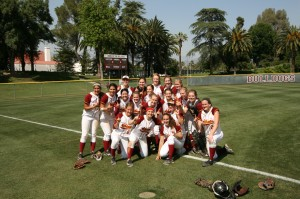 The CMS softball team celebrating the SCIAC Tournament title
