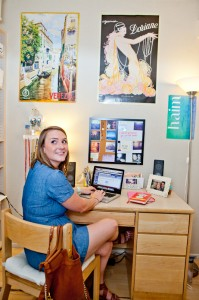 Senior Kelsey Brown in her CMC dorm room