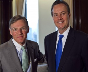 Douglas Peterson (right) was elected CEO and President of McGraw Hill Financial by its Board of Directors on Thursday, July 11, 2013. He begins his new role on Nov. 1, 2013. Harold (Terry) McGraw III (left) continues as Chairman of the Company. Mr. Peterson is currently President of Standard & Poor's Ratings Services, part of McGraw Hill Financial.