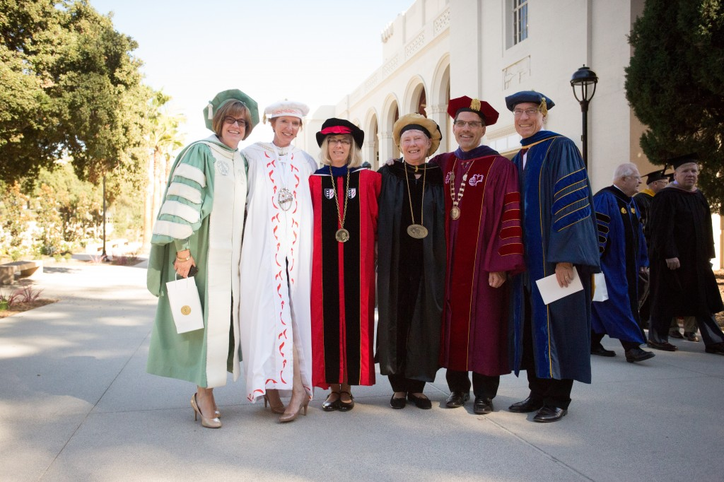 Members of the Club: The presidents of the Claremont Colleges (from left) -- Lori Bettison-Varga (Scripps), Laura Skandera-Trombley (Pitzer), Deborah Freund (CGU), Maria Klawe (HMC), Chodosh, and David Oxtoby (Pomona).