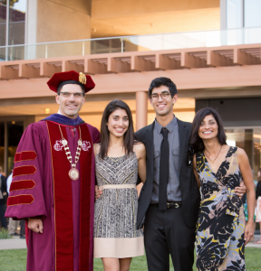 The Family Chodosh: (from left) CMC's president, daughter Saja, son Caleb, and CMC First Lady Priya Junnar in front of the Kravis Center.