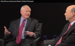 Host Bill Kristol (left) with Claremont McKenna's Mark Blitz.
