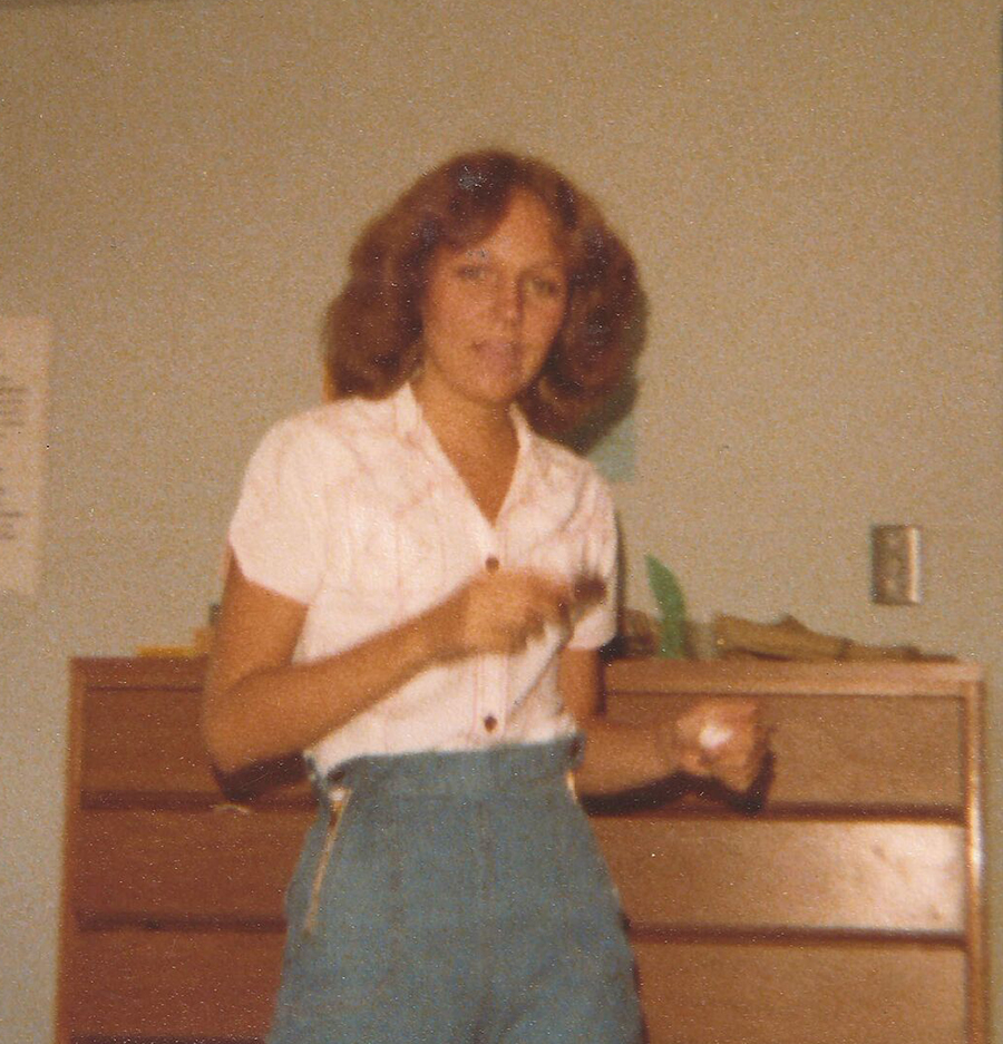 Dorm life: Lori (Sawyer) Nance '81 in her room in Benson Hall