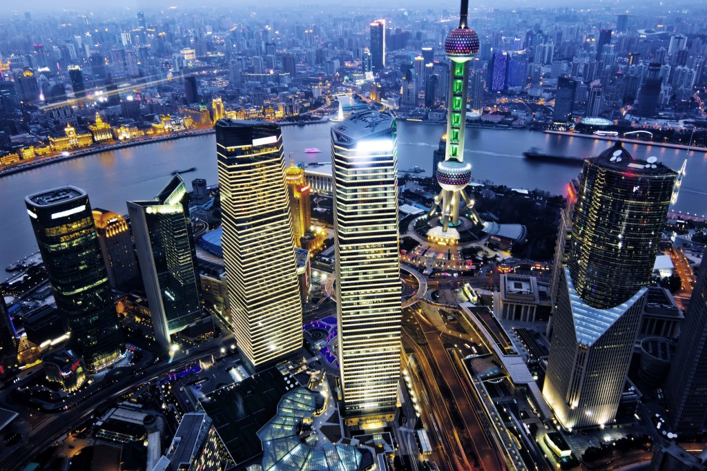 A nighttime view of the Shanghai skyline.