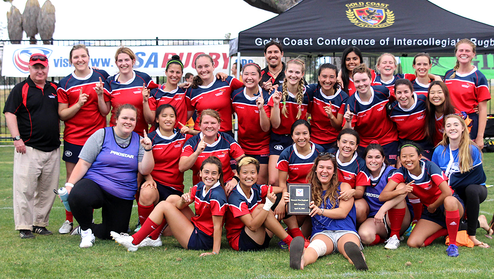 Claremont College women's rugby team celebrates Division III title