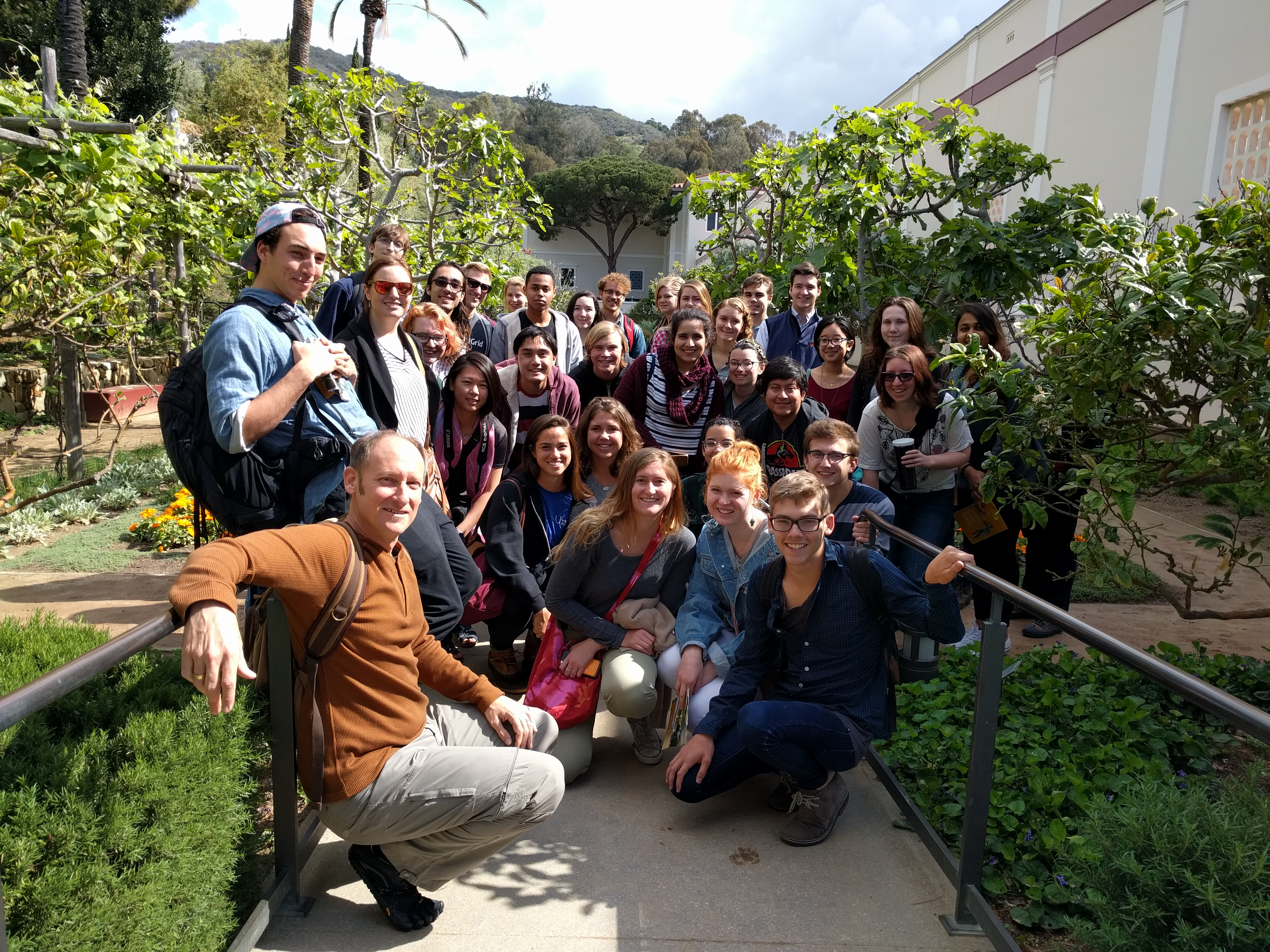 Professor Bjornlie and students at the Getty Villa