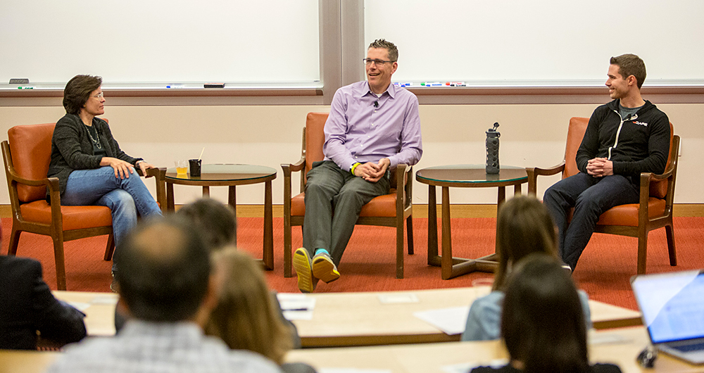 Kara Swisher interviews Henry Albrecht '91 and Jason Soll '11 at the Angel Summit