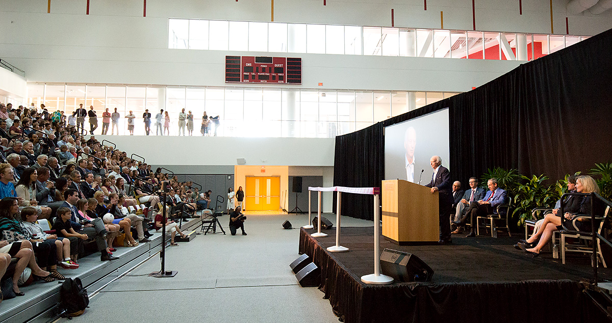 George Roberts speaks at Roberts Pavilion dedication