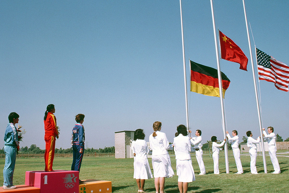 Medal ceremony for the women's 50 meter rifle at the 1984 Olympics