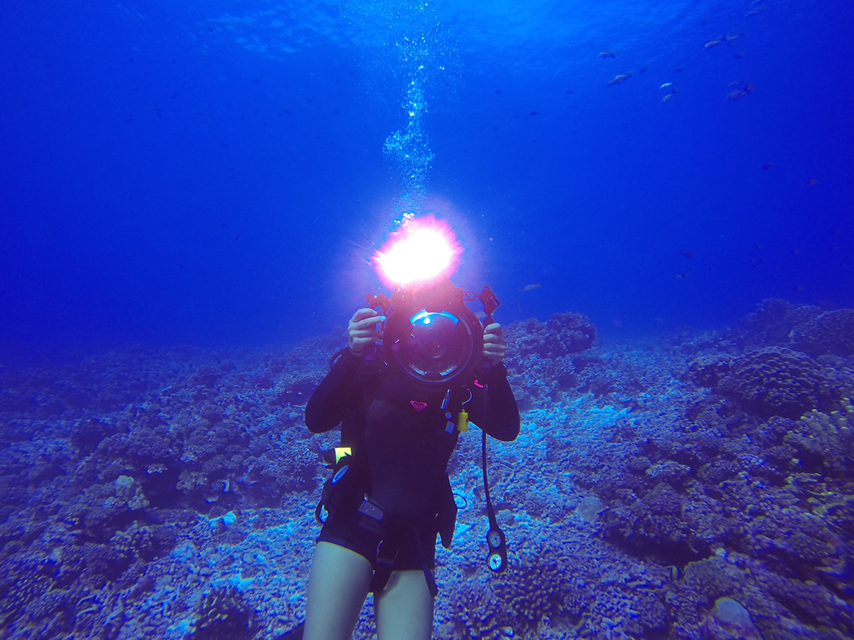 Jane Chang Mi '01 on a diving expedition.