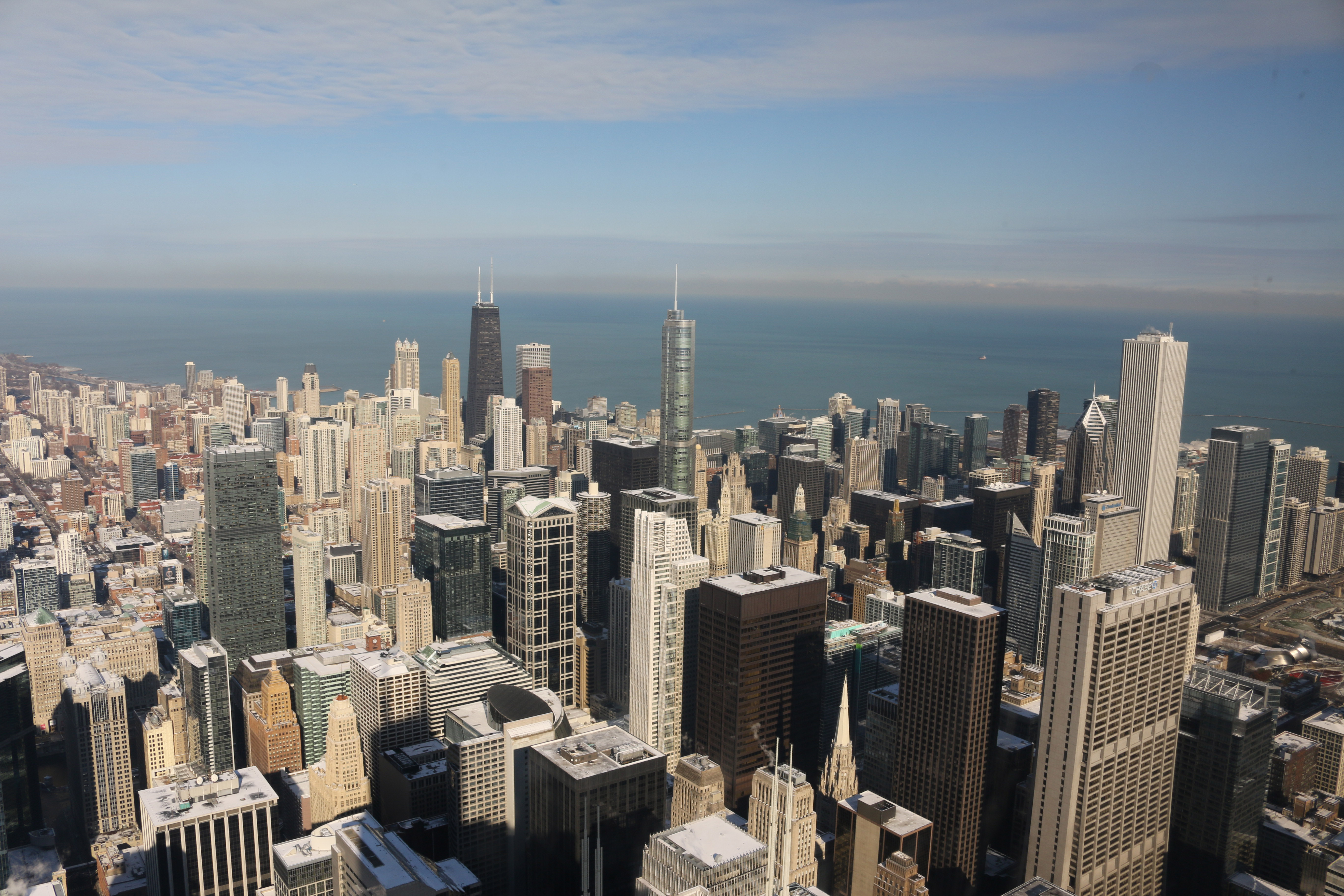 An aerial view of the Chicago skyline.