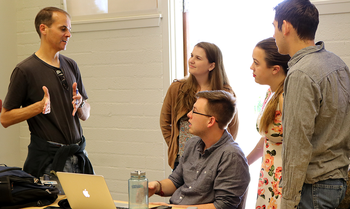 Dan Krauss and students in the classroom