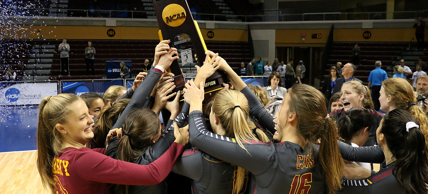 Athena volleyball celebrates with national trophy