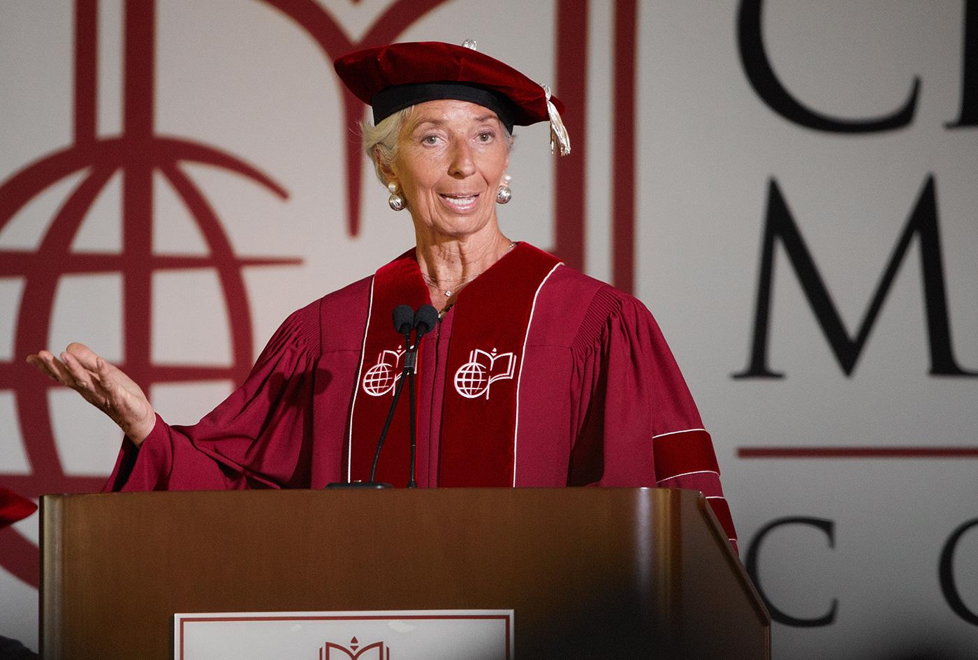 IMF head Christine Lagarde, U S  House Chaplain Pat Conroy