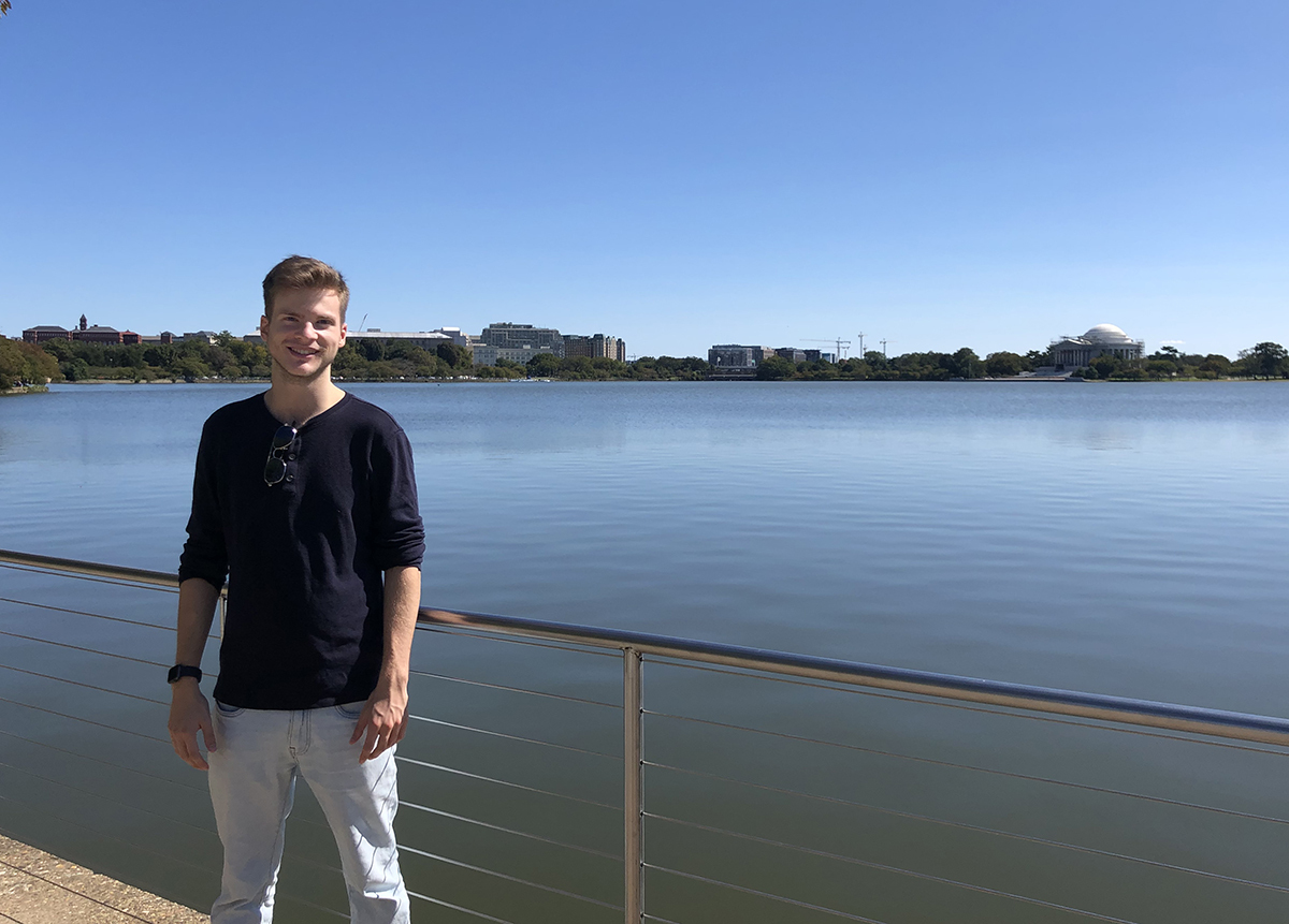 Henry Schulz '22, pictured near the Martin Luther King Jr. memorial along the Tidal Basin
