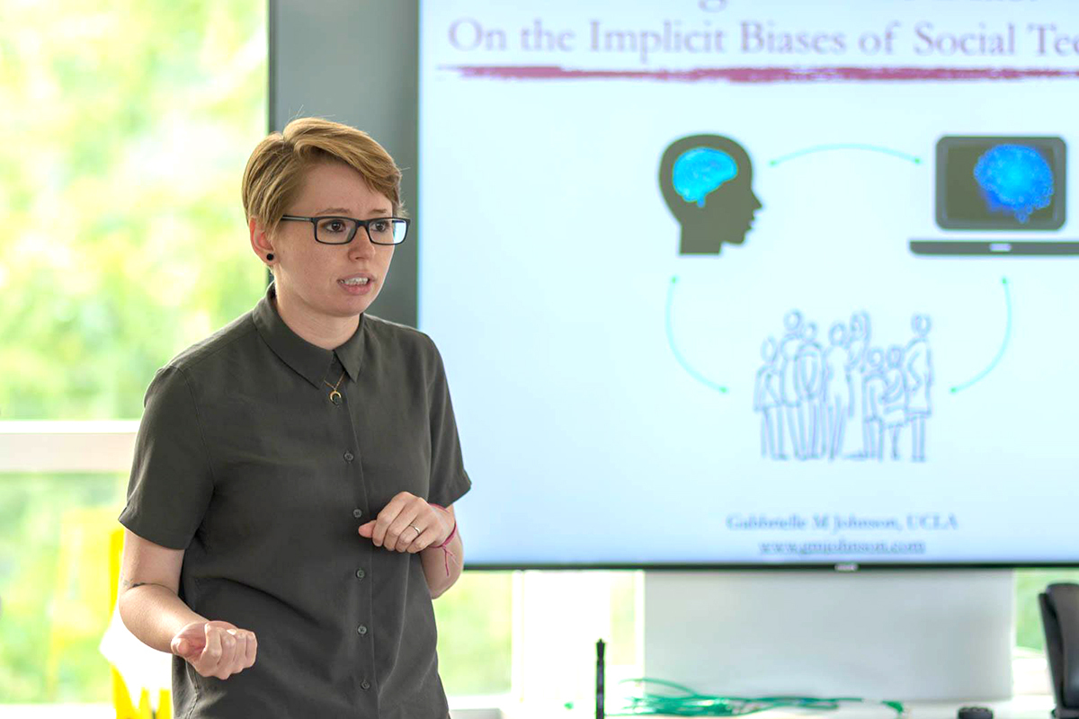 "Gabbrielle Johnson, assistant professor of philosophy, is teaching ""Intro to Philosophy: Science, Technology, and Human Values"" and ""Psychology of Bias"" this spring"