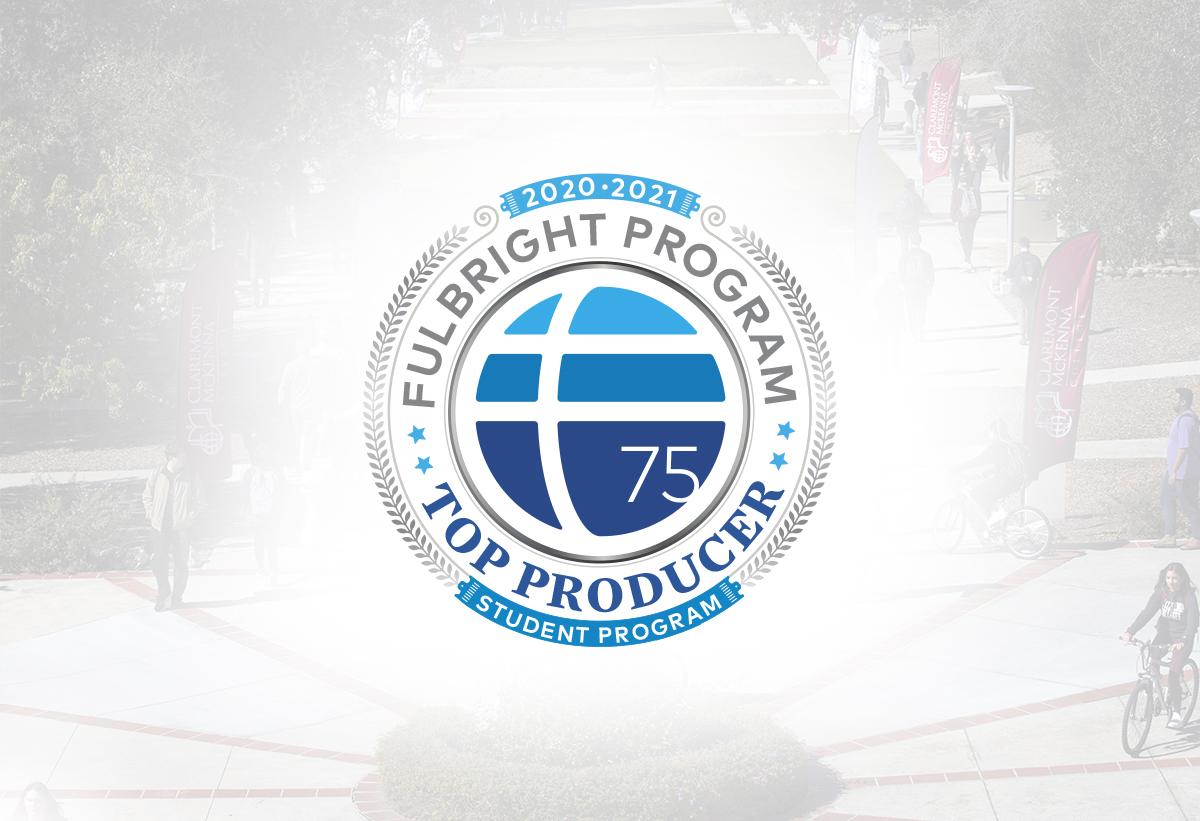 Fulbright logo with white halo on background image of CMC campus