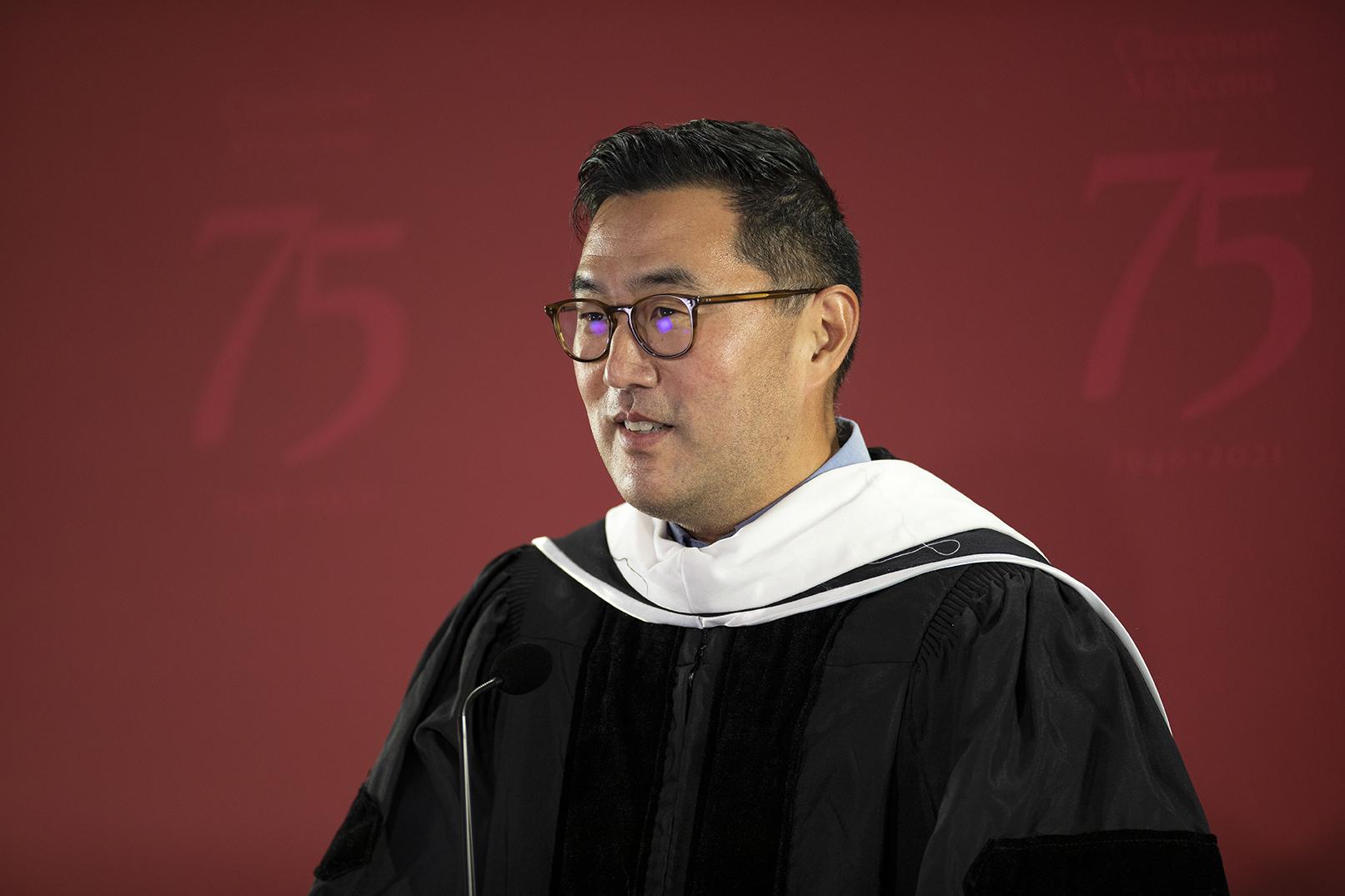 Albert L. Park, Bank of America Associate Professor of Pacific Basin Studies, delivers his keynote address