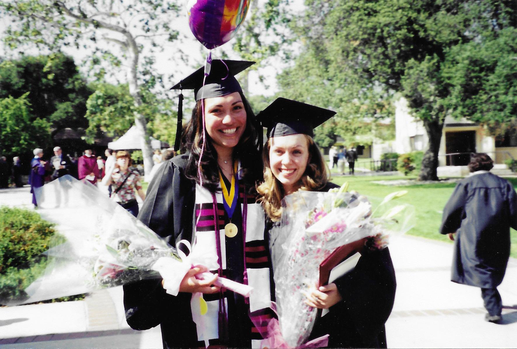 Katya Calvo Corado '01 with first year roommate Christine Crockett-Sharp '01 at their graduation