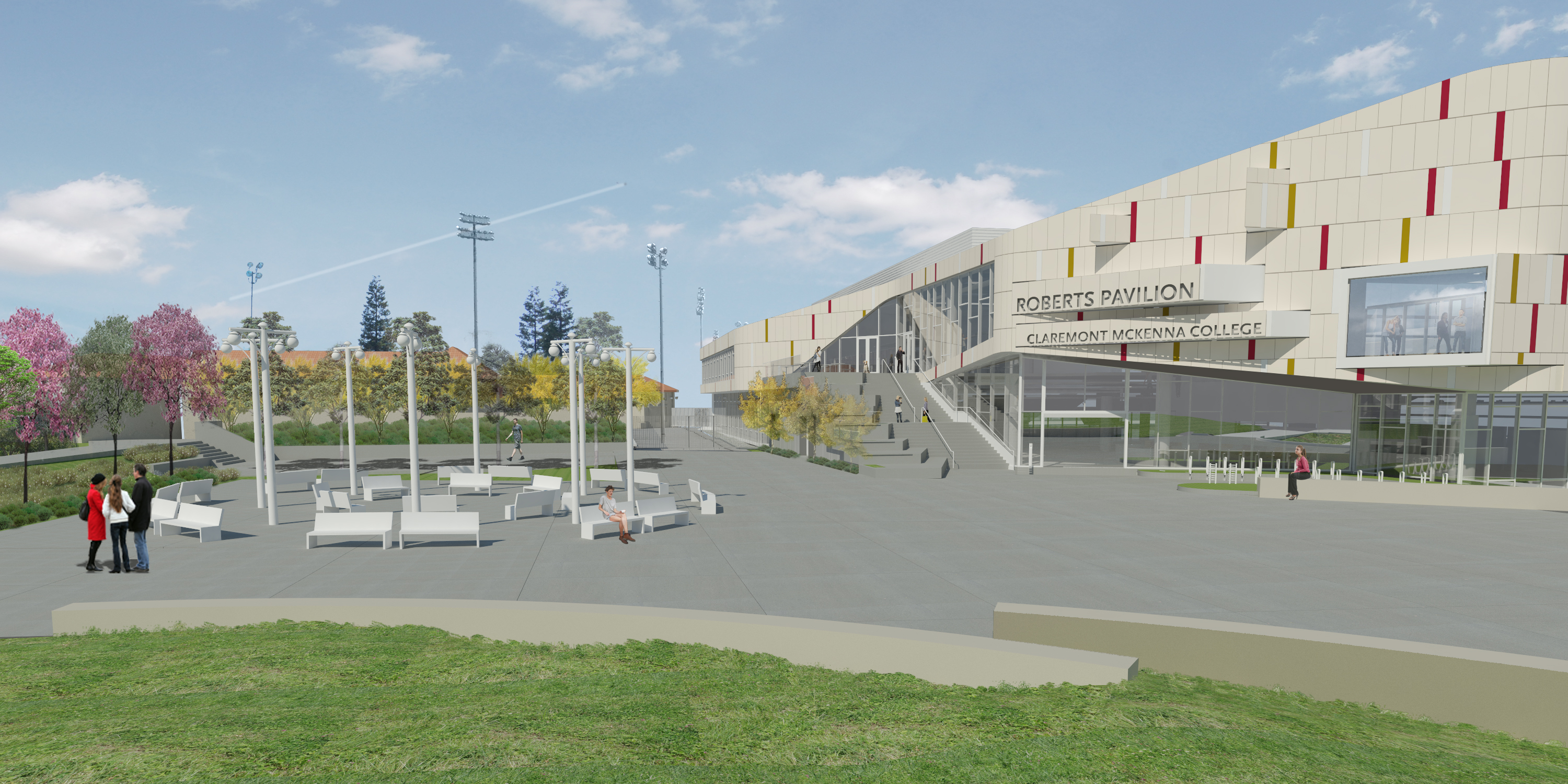 MEET IN THE MIDDLE: Artist rendering of Burden's installation in front of the Roberts Pavilion.