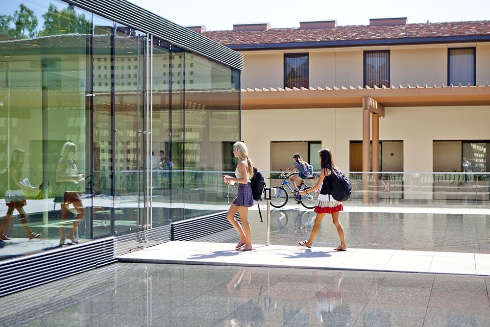 Claremont McKenna campus, in front of the Kravis Living Room