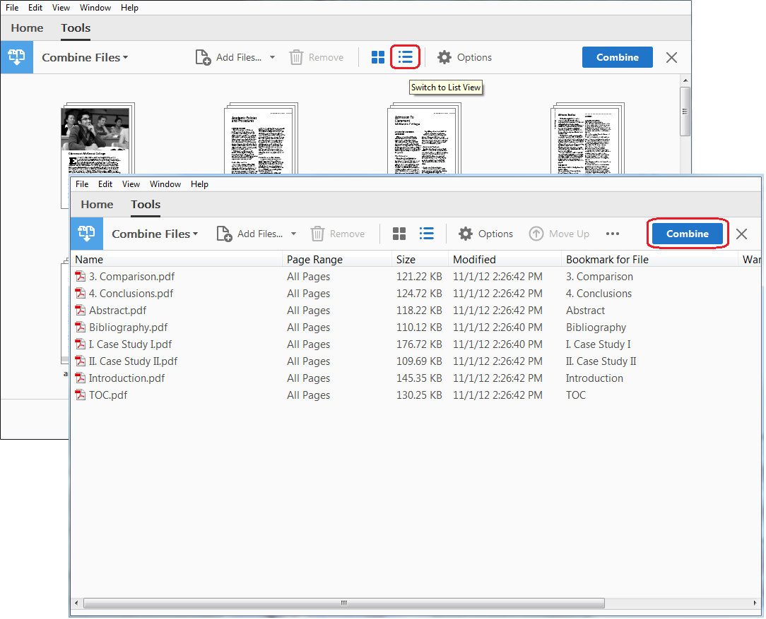Screenshot - Viewing the PDFs as a list