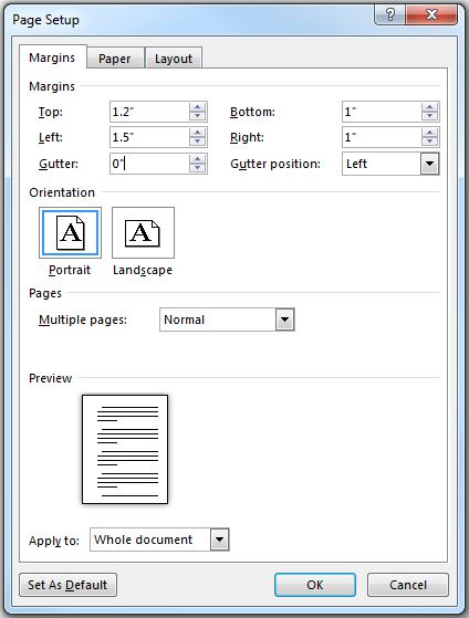 Page Setup dialog box in Microsoft Word