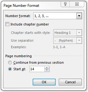 Page Number Format dialog box in Microsoft Word