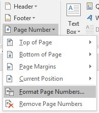 Page Number dropdown options in Microsoft Word