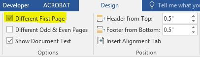 Selecting a different format for page one of a document in Microsoft Word