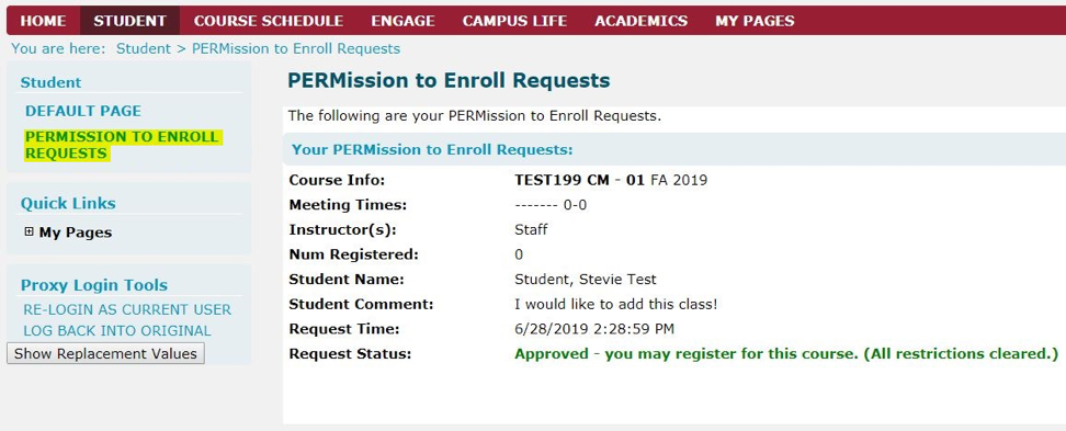 Illustration of PERMission to Enroll Requests in portal