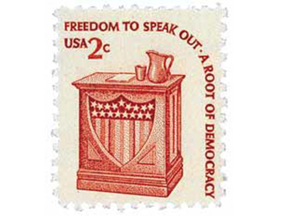 A vintage stamp with freedom of speech