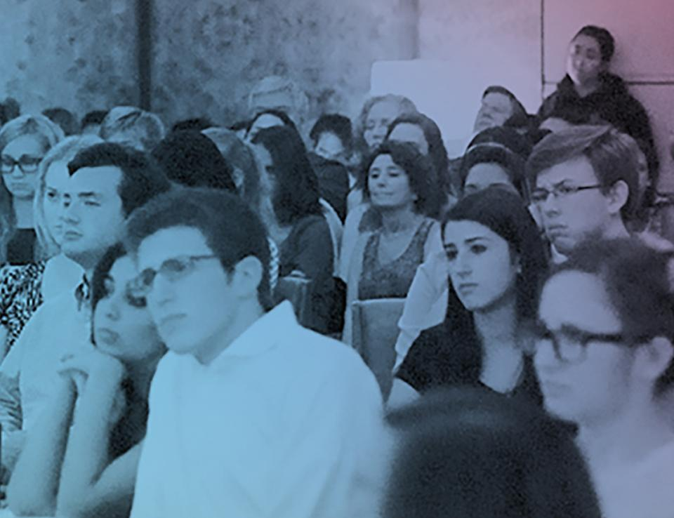 Students listening to the lecture at the Athenaeum