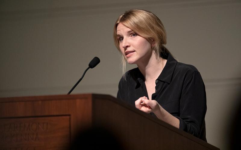 Tara Westover speaking at the Marian Miner Cook Athenaeum