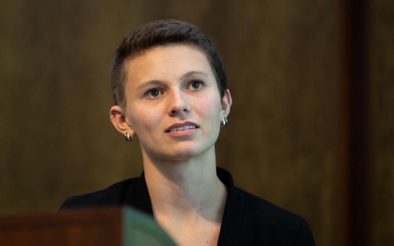 Jasmine Shirey speaks at the Athenaeum