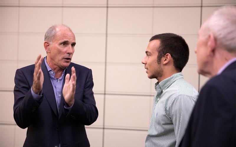 Jonathan Rosenberg talking to students