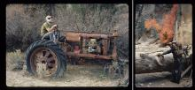 "Langdon Elsbree, on a 1930s vintage Farmall tractor, during a 16-mile hike of the Virgin River Narrows in Zion Park, Utah, in October 1970; ""The hike was glorious, the leaves and canyon walls spectacular, the weather perfect, and Langdon an affable c"