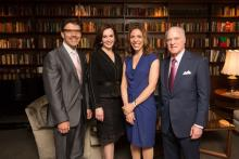 Claremont McKenna College President Hiram E. Chodosh; Marie-Josée Kravis, Chair of the Kravis Prize Selection Committee; Endeavor CEO and Co-founder Linda Rottenberg; and Henry R. Kravis '67, CMC Trustee and Co-founder of Kohlberg Kravis Roberts & Co