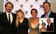 From left: CEO of Fonderie 47 and Liberty United Peter Thum '90, actress Abigail Breslin, HKI president & CEO Kathy Spahn, and Claremont McKenna Trustee Douglas Peterson '80 P'14 P'15; inset photo: Spahn with Ernie Iseminger, Claremont McKenna vice p