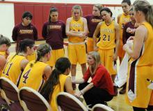 Basketball team huddle