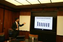 RDS student Ankit Sud presents during the inaugural RDS Pitch Day.