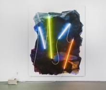 A Mary Weatherford neon painting.
