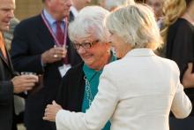 Arden Flamson with President Emerita Pamela Gann at the Flamson Plaza rededication ceremony, 2013.