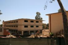Benson (left) and Berger Halls under renovation on Claremont McKenna's campus.