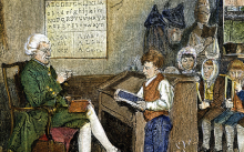 Colonial scene: A schoolmaster and his pupils in the early days of the American republic.