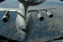 Aircraft from the 452nd refueling