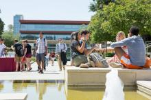 Students at fountain at CMC