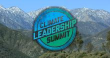 Climate Leadership Summit logo superimposed over a photo of San Gabriel Mountains
