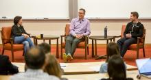 Kara Swisher interviews Henry Albrecht '91 and Jason Soll '11 at the Angel Summit