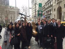 Students on network trip in New York City